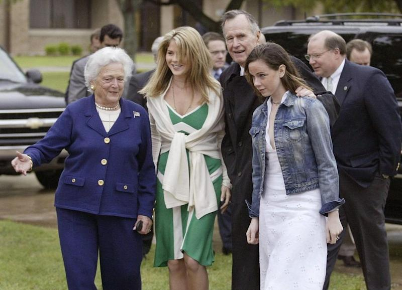 From left: former First Lady Barbara Bush with her granddaughters Jenna Bush Hager and Barbara Piece Bush. | LUKE FRAZZA/AFP/Getty