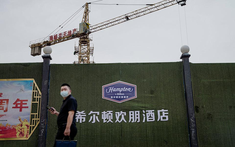 The site in Hotan where a hotel complex of Hilton's Hampton branch is being built