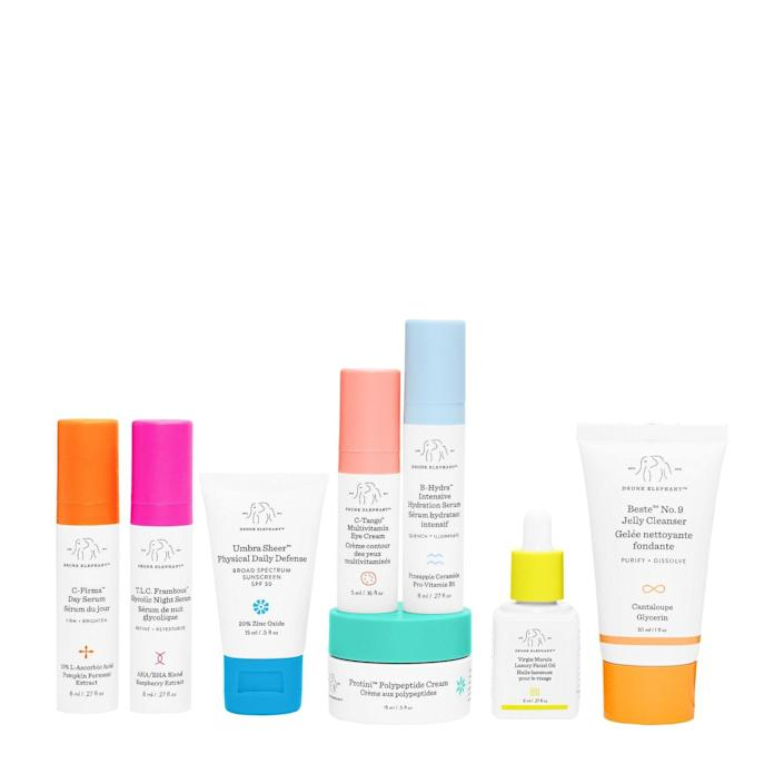 """<h2><a href=""""https://www.sephora.com/product/drunk-elephant-the-littles-set-P455246"""" rel=""""nofollow noopener"""" target=""""_blank"""" data-ylk=""""slk:Drunk Elephant The Littles Set"""" class=""""link rapid-noclick-resp"""">Drunk Elephant The Littles Set<br></a></h2><br>If both you <em>and</em> Jennifer Anniston <a href=""""https://www.refinery29.com/en-us/2019/11/8693332/jennifer-aniston-natural-hair-drunk-elephant"""" rel=""""nofollow noopener"""" target=""""_blank"""" data-ylk=""""slk:love Drunk Elephant"""" class=""""link rapid-noclick-resp"""">love Drunk Elephant</a>, we're pretty sure your mother-in-law will too. Start her off with this kit featuring eight of the brand's bestsellers to mix for AM and PM skincare routines.<br><br><strong>Drunk Elephant</strong> The Littles™, $, available at <a href=""""https://go.skimresources.com/?id=30283X879131&url=https%3A%2F%2Fwww.sephora.com%2Fproduct%2Fdrunk-elephant-the-littles-set-P455246"""" rel=""""nofollow noopener"""" target=""""_blank"""" data-ylk=""""slk:Sephora"""" class=""""link rapid-noclick-resp"""">Sephora</a>"""