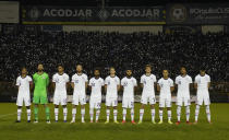 United States' starting players pose for a photo prior a qualifying soccer match against El Salvador for the FIFA World Cup Qatar 2022 at Cuscatlan stadium in San Salvador, El Salvador, Thursday, Sept. 2, 2021. (AP Photo/Moises Castillo)