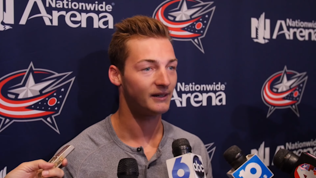 "Not many athletes had as good an excuse for underperforming last year as <a class=""link rapid-noclick-resp"" href=""/nhl/teams/cob"" data-ylk=""slk:Blue Jackets"">Blue Jackets</a> prospect Carson Meyer. (Columbus Blue Jackets)"
