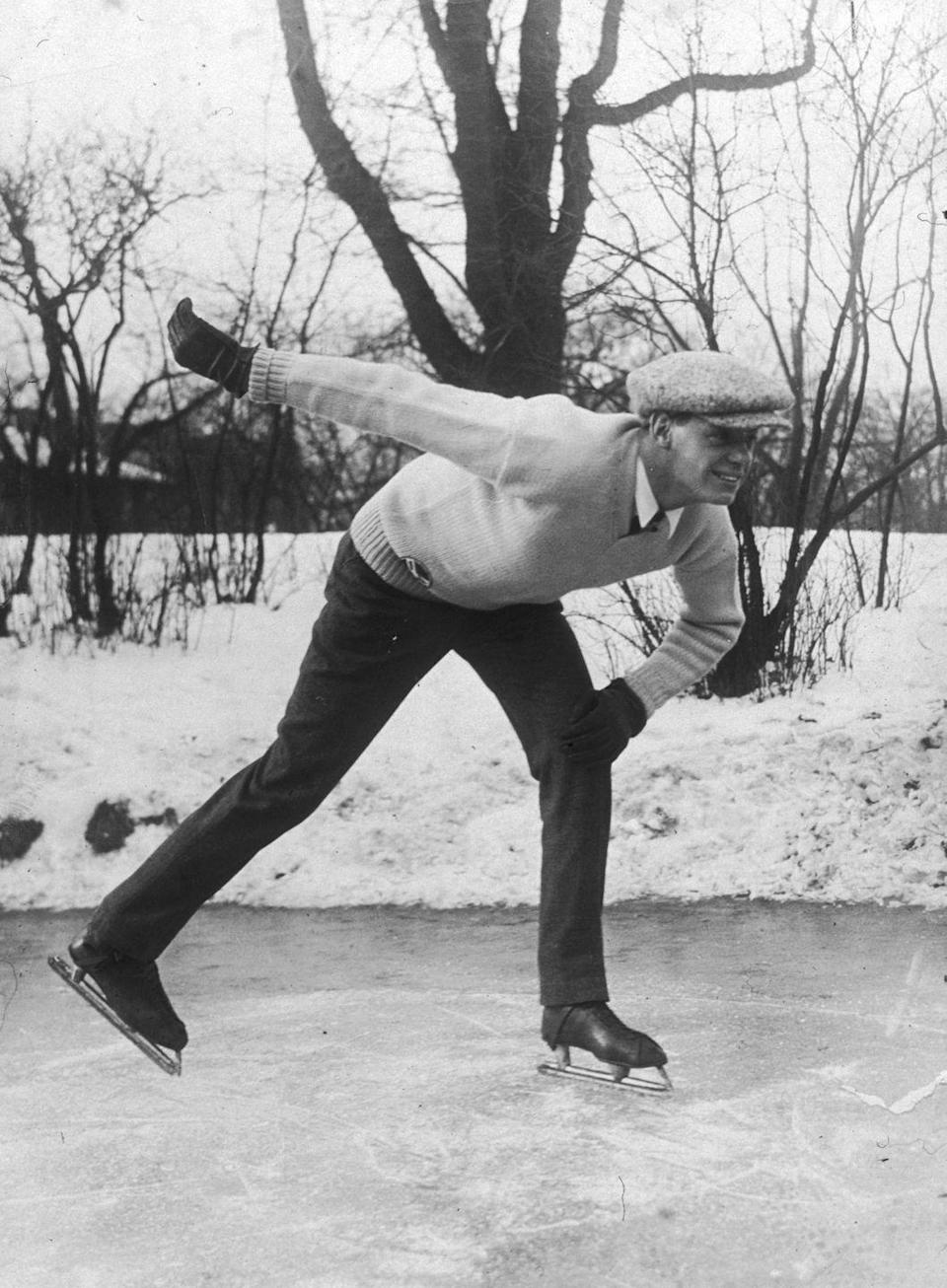 <p><em>Tarzan </em>actor, Johnny Weissmuller, spends the day ice skating on a pond in 1925. The Hungarian-born actor was a five-time Olympic athlete before venturing to Hollywood. </p>