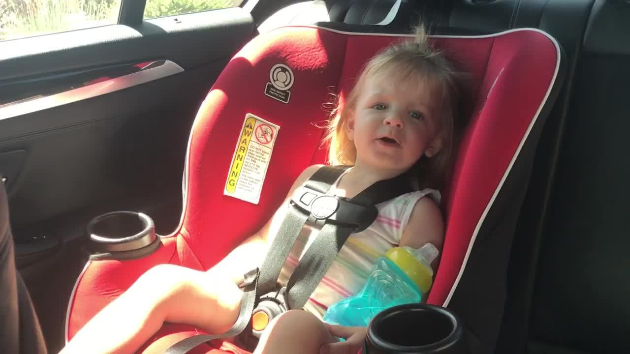 2-year-old Harper attempts to sing the ABC's while waiting at the drive thru at Starbucks. At least it's the same tune!