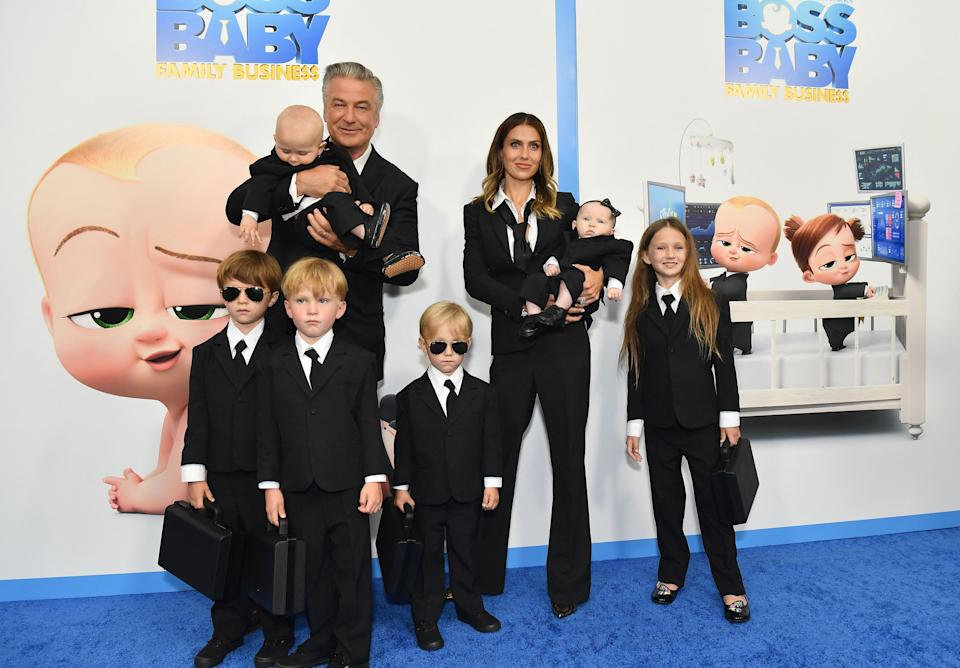 US actor Alec Baldwin (L), wife Hilaria Baldwin (R) and their children attend DreamWorks Animation's
