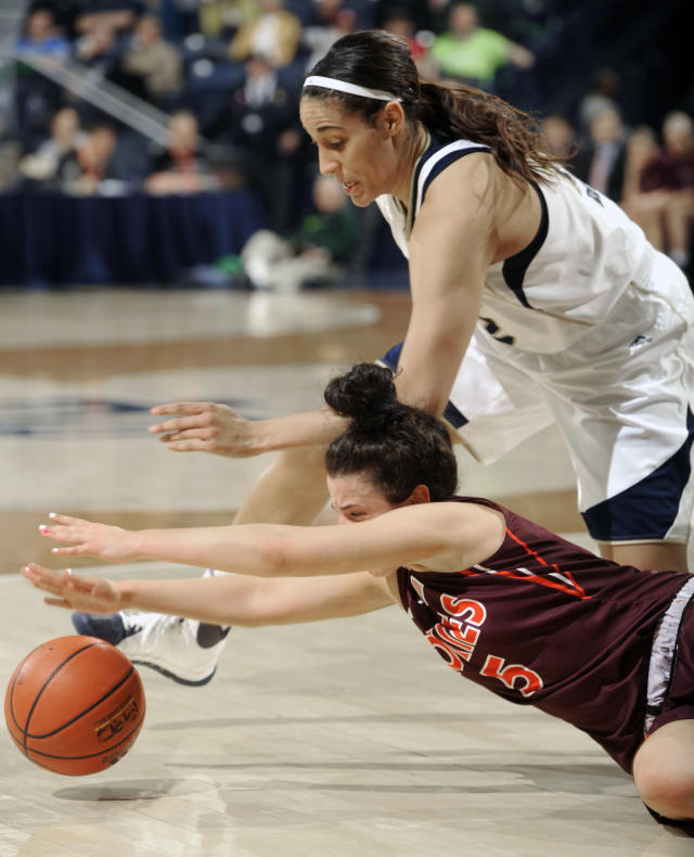 Virginia Tech guard Vanessa Panousis and Notre Dame forward Taya Reimer, top, battle for a loose ball during the second half of an NCAA college basketball game, Thursday, Jan. 30, 2014 in South Bend, Ind. Notre Dame won 74-48 with Reimer scoring 15 points and Panousis 12 points. (AP Photo/Joe Raymond)