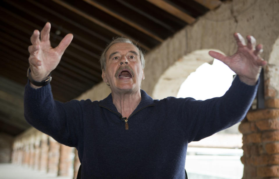 """Former Mexican President Mexico Vicente Fox gives an interview at the """"Fox Center,"""" an academic facility focused on free enterprise in San Cristobal, Mexico, Wednesday, March  9, 2016. Fox criticized Bernie Sanders as a proponent of the kind of """"stupid"""" populism that has led to """"demagogy"""" in some Latin American nations. (AP Photo/Eduardo Verdugo)"""