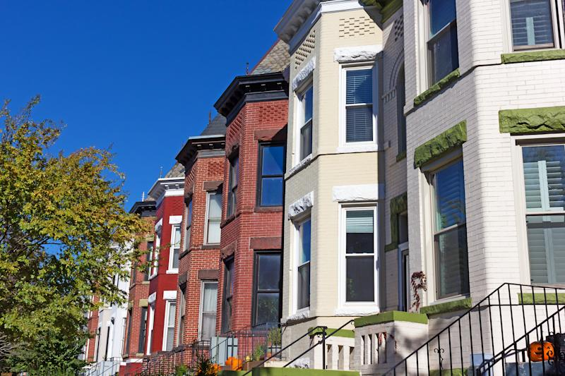 Historic row houses in Colombia Heights neighborhood of Washington DC, USA