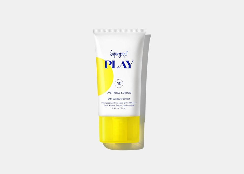 """Sun protection should be the first thing on your packing list, regardless of what time of year you're traveling. Supergoop's Play Everyday Lotion with SPF 50 is great for both <a href=""""https://www.cntraveler.com/gallery/best-face-sunscreens?mbid=synd_yahoo_rss"""" rel=""""nofollow noopener"""" target=""""_blank"""" data-ylk=""""slk:face"""" class=""""link rapid-noclick-resp"""">face</a> and body and is water resistant, so it can stand up to forehead sweat and a turn on <a href=""""https://disneyworld.disney.go.com/attractions/animal-kingdom/kali-river-rapids/"""" rel=""""nofollow noopener"""" target=""""_blank"""" data-ylk=""""slk:Kali River Rapids"""" class=""""link rapid-noclick-resp"""">Kali River Rapids</a>. It also comes in a <a href=""""https://cna.st/affiliate-link/3SWPfB1Ca2drULWVY1tHH2GcYzJ1vKYn7PLcTnS89o7iKXHu6Z4QEa5cXvQdyM7PmtuRihcYAHTRsKHqvECnmS53xmwB8e2K8pnBqmDnUAxRsxCfvdhoG4uyBQSLpzqSzapcs1gQx6tZnBmZso5CgbAaYNz81izm24EVC72?cid=60c113fb5135ebdd26fe82cd"""" rel=""""nofollow noopener"""" target=""""_blank"""" data-ylk=""""slk:spray version"""" class=""""link rapid-noclick-resp"""">spray version</a> for easy reapplication on-the-go or hitting spots that are just out of reach. $22, Sephora. <a href=""""https://www.sephora.com/product/supergoop-play-everyday-lotion-spf-50-with-sunflower-extract-P454383"""" rel=""""nofollow noopener"""" target=""""_blank"""" data-ylk=""""slk:Get it now!"""" class=""""link rapid-noclick-resp"""">Get it now!</a>"""