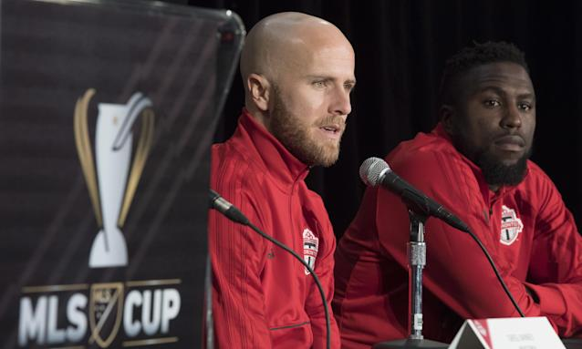 "<a class=""link rapid-noclick-resp"" href=""/soccer/players/michael-bradley"" data-ylk=""slk:Michael Bradley"">Michael Bradley</a> (left) and Jozy Altidore, two USMNT mainstays, helped Toronto FC win MLS Cup for the first time last season. (The Guardian)"