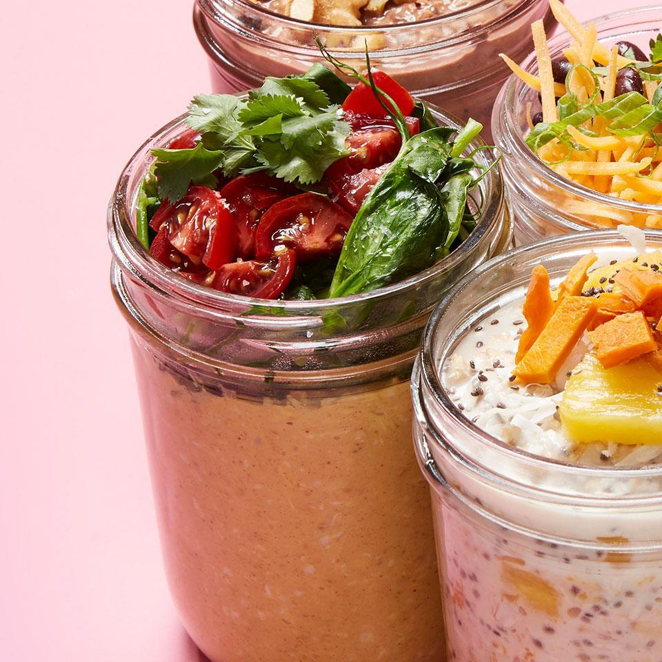 """<p>Peanut butter and curry flavor this savory overnight oats recipe. The healthy breakfast is easy to prepare and perfect for anyone who loves oatmeal, but doesn't have a big sweet tooth. Plus, it's a great way to sneak some extra veggies into your day. <a href=""""https://www.eatingwell.com/recipe/270493/thai-peanut-overnight-oats/"""" rel=""""nofollow noopener"""" target=""""_blank"""" data-ylk=""""slk:View Recipe"""" class=""""link rapid-noclick-resp"""">View Recipe</a></p>"""
