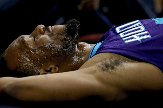 Kemba Walker visualizes putting his hand in the cookie jar. (Patrick Smith/Getty Images)