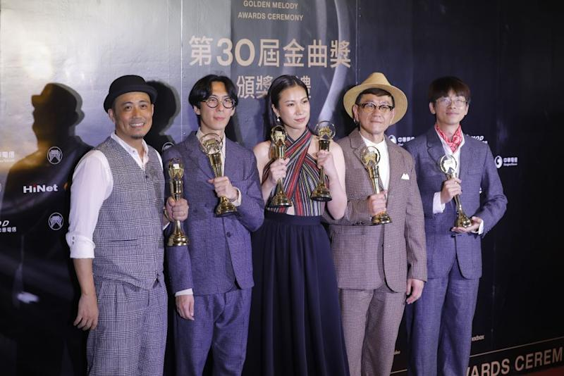 Taiwan aboriginal singer Yawai Mawlin and her group pose with their trophies after winning the Best Aboriginal Album at the 30th Golden Melody Awards in the Taipei on June 29, 2019. (Photo by Daniel Shih / AFP) (Photo credit should read DANIEL SHIH/AFP/Getty Images)