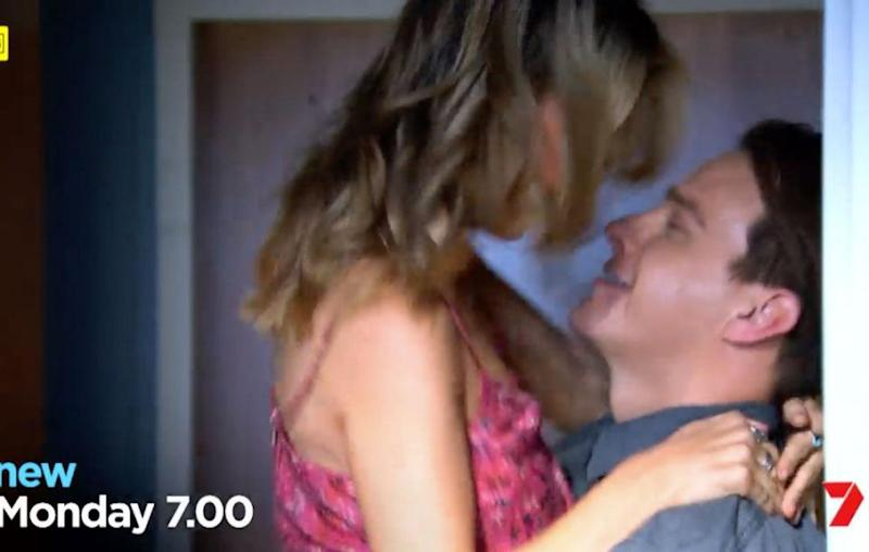 Sam is seen kissing a male co-star in a new promo, and many fans think it's Brax, played by Steve Peacocke. Source: Channel Seven