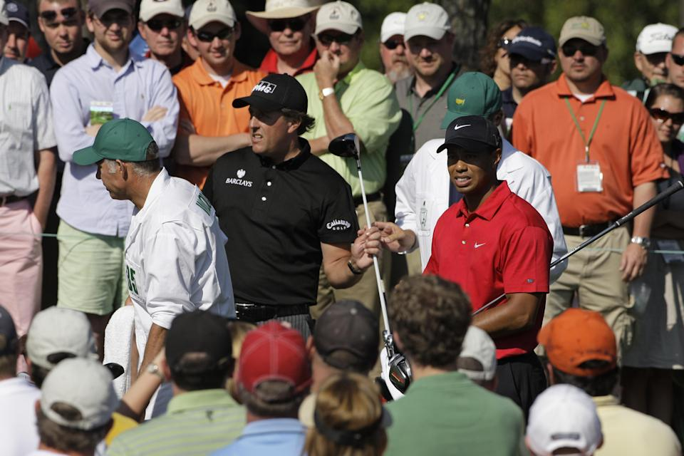 <p>Tiger Woods and Phil Mickelson during the final round of the Masters golf tournament at the Augusta National Golf Club in Augusta, Ga., Sunday, April 12, 2009. (AP Photo/Morry Gash) </p>