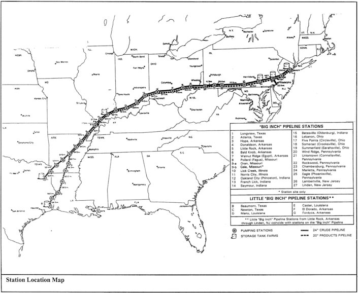Map showing pipelines from Texas to mid-Atlantic coast.