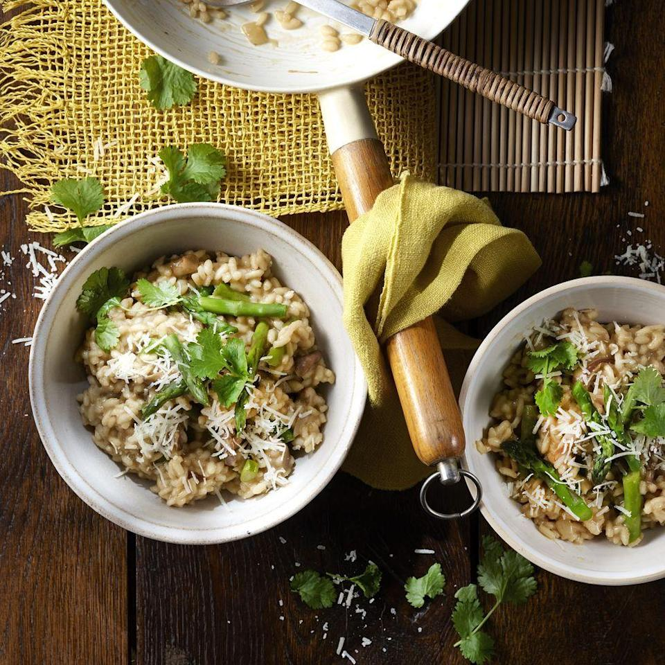 """<p>Mushroom and asparagus <a href=""""https://www.delish.com/uk/cooking/recipes/g30242114/risotto-recipe/"""" rel=""""nofollow noopener"""" target=""""_blank"""" data-ylk=""""slk:risotto"""" class=""""link rapid-noclick-resp"""">risotto</a> is comfort food goals, but have you ever tried it with oyster and sauce? <a href=""""https://www.delish.com/uk/food-news/a30323671/masterchef-2020-start-date-trailer/"""" rel=""""nofollow noopener"""" target=""""_blank"""" data-ylk=""""slk:Masterchef"""" class=""""link rapid-noclick-resp"""">Masterchef</a> finalist Sandy Tang shows us how to add a tasty twist to the classic recipe. </p><p>Get the <a href=""""https://www.delish.com/uk/cooking/recipes/a34121193/mushroom-asparagus-risotto/"""" rel=""""nofollow noopener"""" target=""""_blank"""" data-ylk=""""slk:Asparagus and Shiitake Mushroom Risotto"""" class=""""link rapid-noclick-resp"""">Asparagus and Shiitake Mushroom Risotto</a> recipe.</p>"""