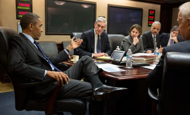 The Situation Room: President Barack Obama meets with members of his national security team on April 19.