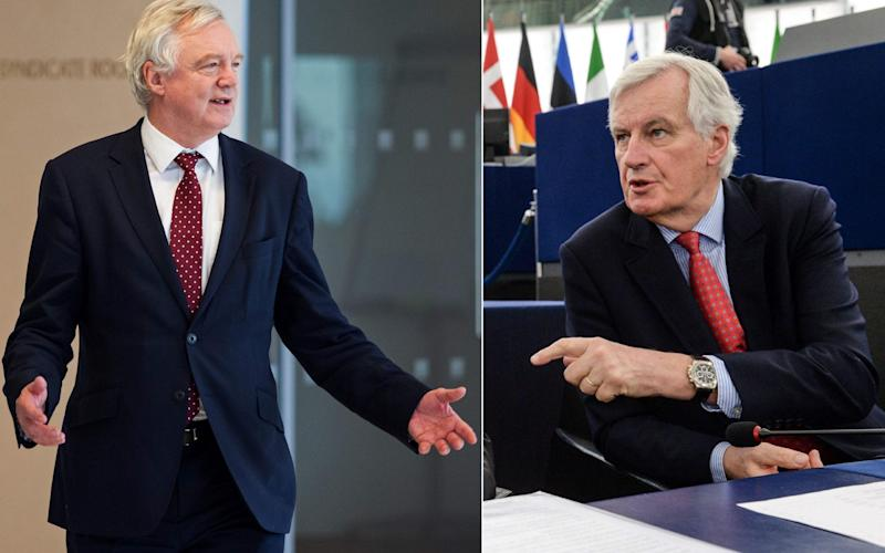 David Davis and Michel Barnier - Credit: Sebastien Bozon/AFP