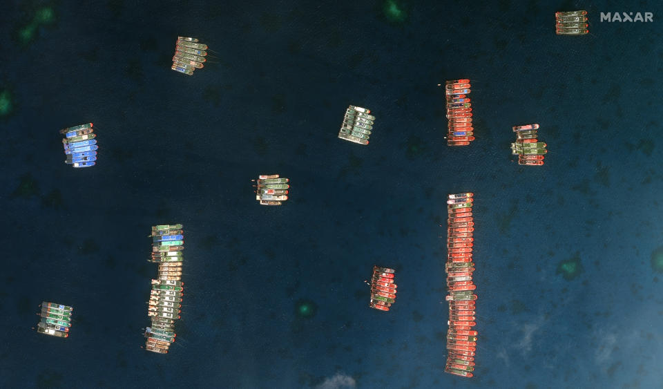 A satellite image shows Chinese vessels in the Whitsun Reef located in the South China Sea.