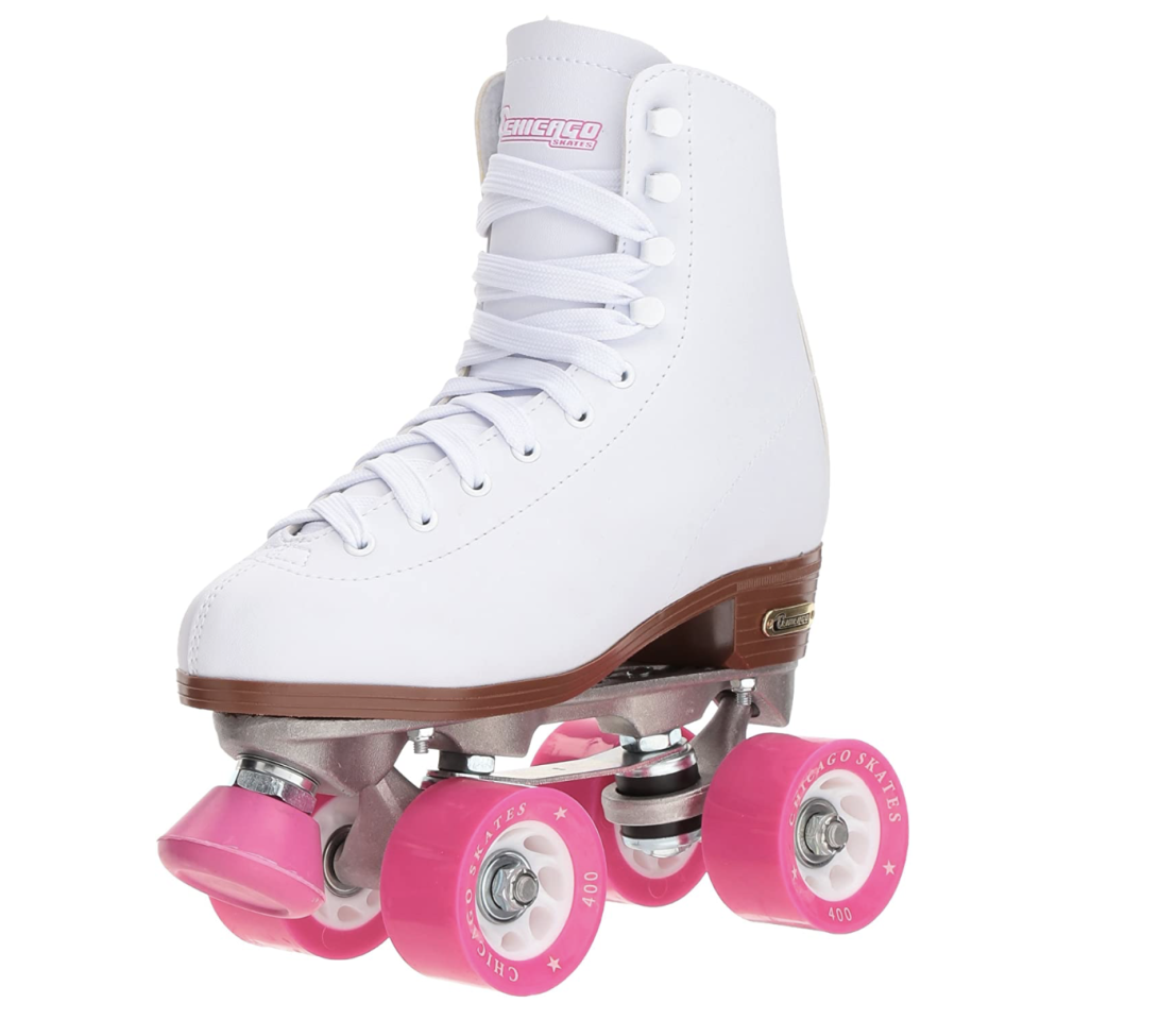 """<p><strong>Chicago Skates</strong></p><p>amazon.com</p><p><strong>$49.99</strong></p><p><a href=""""https://www.amazon.com/dp/B00005K416?tag=syn-yahoo-20&ascsubtag=%5Bartid%7C10055.g.33471594%5Bsrc%7Cyahoo-us"""" target=""""_blank"""">Shop Now</a></p><p>A great pair for a beginner, these quad-style roller skates are best suited for rinks or smooth paved streets. Many of the shoppers who purchased this affordable pair share that they're built to last. """"I'm a beginner skater and had originally bought another (much more expensive) pair, elsewhere,"""" one shopper shared. """"These skates knock the other ones out of the water and for a fraction of the price.""""</p>"""