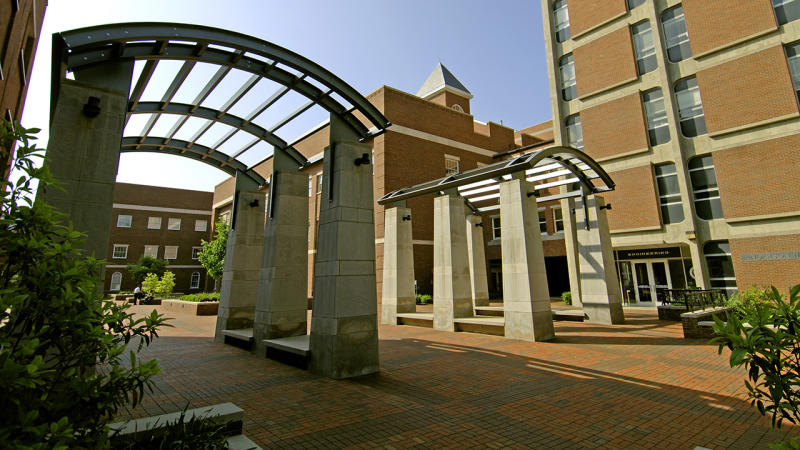The engineering courtyard, pictured here at the University of Kentucky.