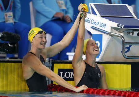 Swimming - Gold Coast 2018 Commonwealth Games - Women's 100m Freestyle - Final - Optus Aquatic Centre - Gold Coast, Australia - April 9, 2018. Bronte Campbell and Cate Campbell of Australia. REUTERS/David Gray
