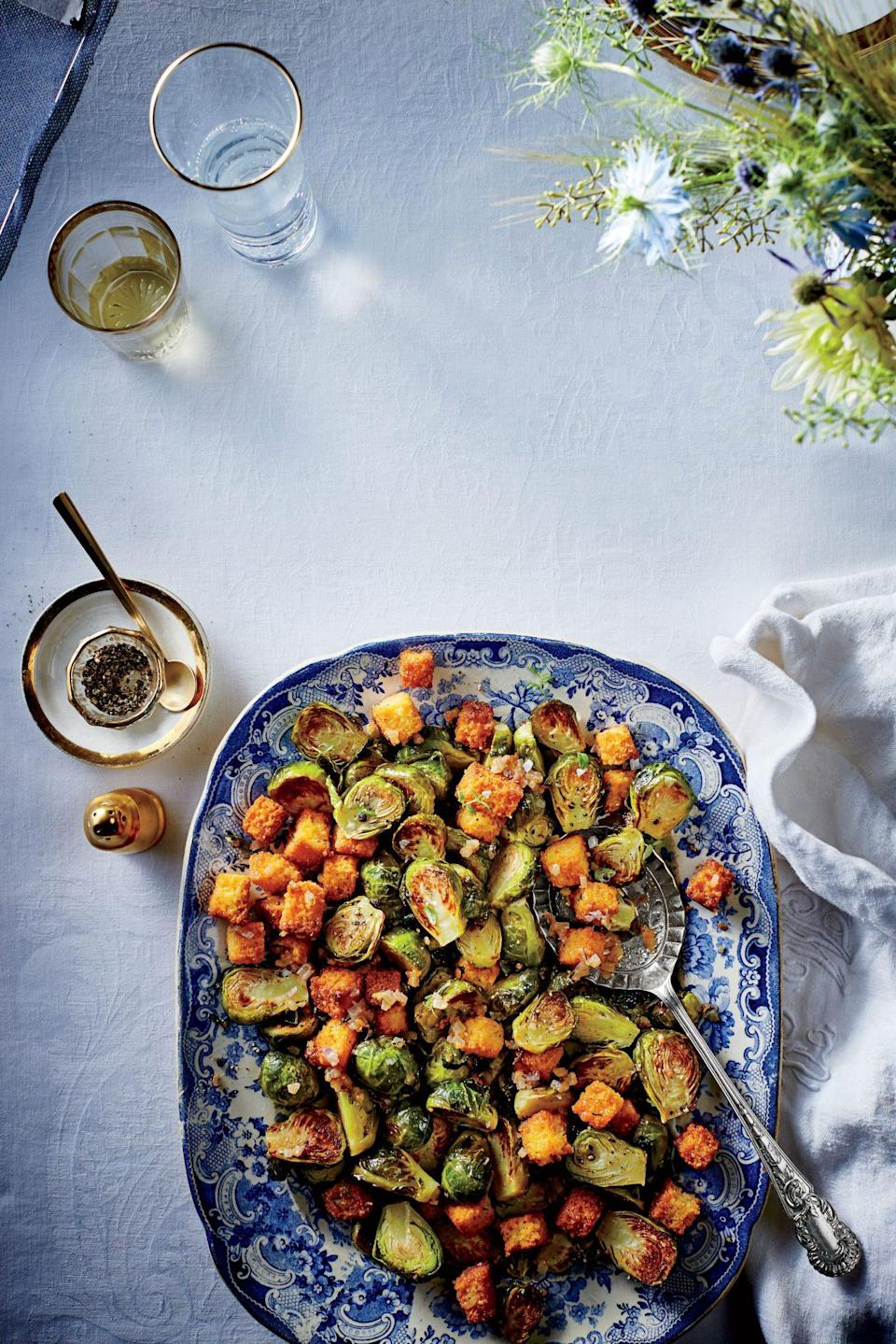 """<p><b>Recipe: </b><a href=""""https://www.southernliving.com/recipes/brussels-sprouts-cornbread-croutons"""" rel=""""nofollow noopener"""" target=""""_blank"""" data-ylk=""""slk:Brussels Sprouts with Cornbread Croutons"""" class=""""link rapid-noclick-resp"""">Brussels Sprouts with Cornbread Croutons</a></p> <p>When cooking Brussels sprouts, you can use your nose as a guide, just make sure you're not too late. If they have a strong smell they've been overcooked. </p>"""