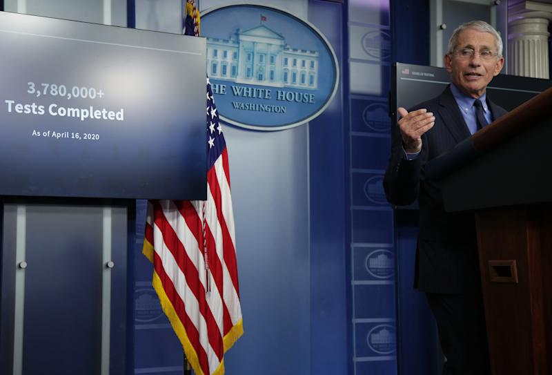 Dr. Anthony Fauci in April at a White House briefing. (Alex Wong/Getty Images)
