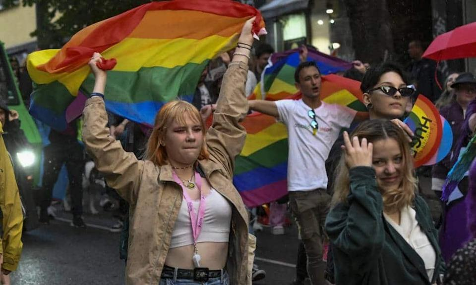 Thousands of people march on the streets during the annual Sofia LGBT Pride parade in Sofia, Bulgaria