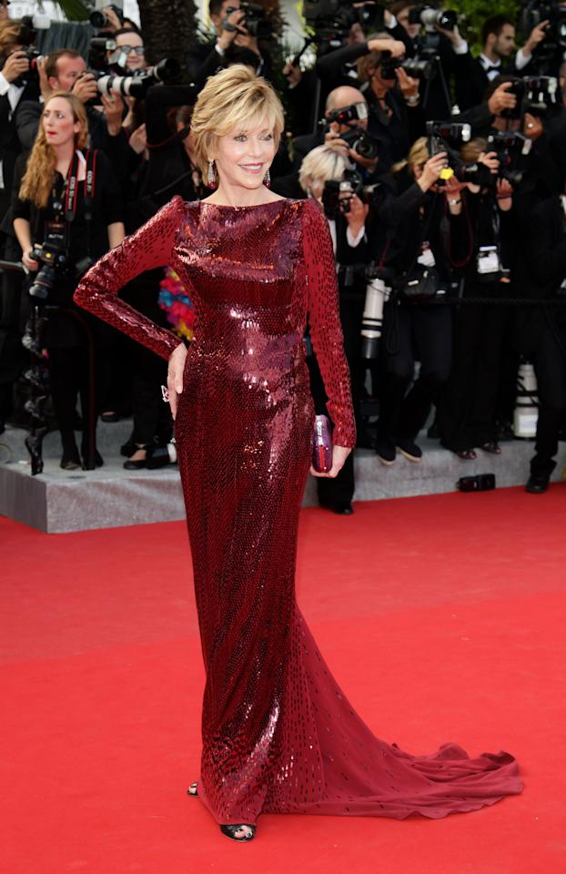 "CANNES, FRANCE - MAY 18: Jane Fonda attends the ""Madagascar 3: Europe's Most Wanted"" Premiere during the 65th Annual Cannes Film Festival at Palais des Festivals on May 18, 2012 in Cannes, France.  (Photo by Vittorio Zunino Celotto/Getty Images)"
