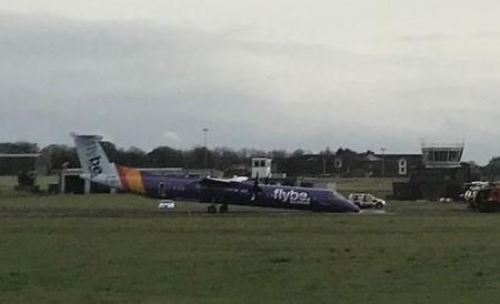 A Flybe plane is pictured after an emergency landing at Belfast International Airport