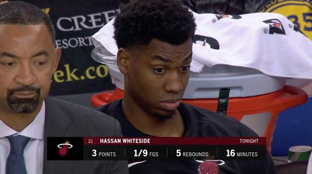 """<a class=""""link rapid-noclick-resp"""" href=""""/nba/players/4764/"""" data-ylk=""""slk:Hassan Whiteside"""">Hassan Whiteside</a>'s ghastly first half performance earned him a night on the bench."""