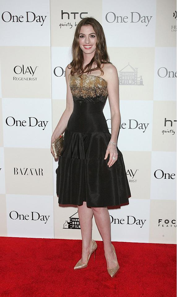 "<a href=""http://movies.yahoo.com/movie/contributor/1804705919"">Anne Hathaway</a> at the New York City premiere of <a href=""http://movies.yahoo.com/movie/1810197449/info"">One Day</a> on August 8, 2011."