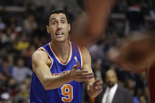New York Knicksguard Pablo Prigioni (9) of Argentina disputes a call during the first half of an NBA basketball game against the Detroit Pistons in Auburn Hills, Mich., Monday, March 3, 2014. (AP Photo/Carlos Osorio)
