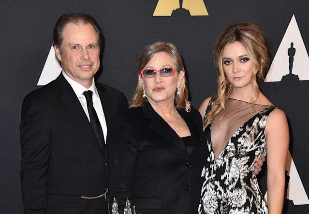 Todd Fisher, from left, Carrie Fisher, and Billie Catherine Lourd arrive at the Governors Awards at the Dolby Ballroom on Saturday, Nov. 14, 2015, in Los Angeles. (Photo by Jordan Strauss/Invision/AP)