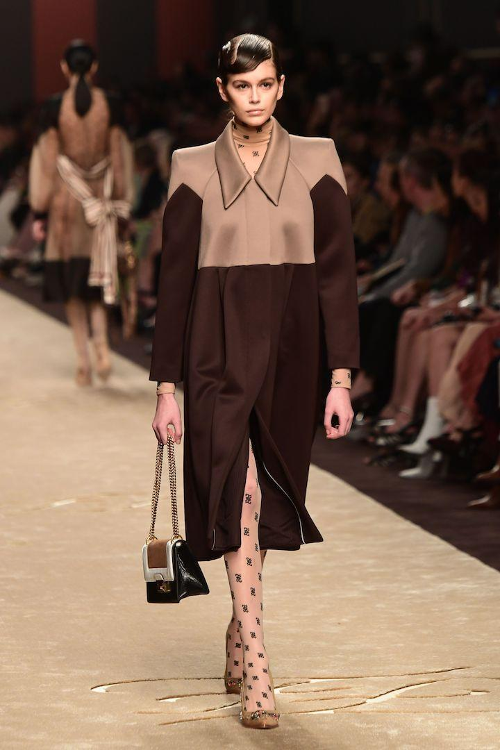 <p>Cindy Crawford's supermodel daughter Kaia Gerber walked the Fendi runway in tribute to the designer Karl Lagerfeld who passed away on February 19th. <em>[Photo: Getty]</em> </p>