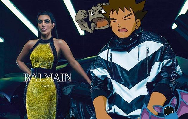 <p>Kanye West has transformed into Brock, while Kim Kardashian and her squad of Zubat and Geodude get fired up for the Balmain men's spring-summer 2015 shoot. </p>