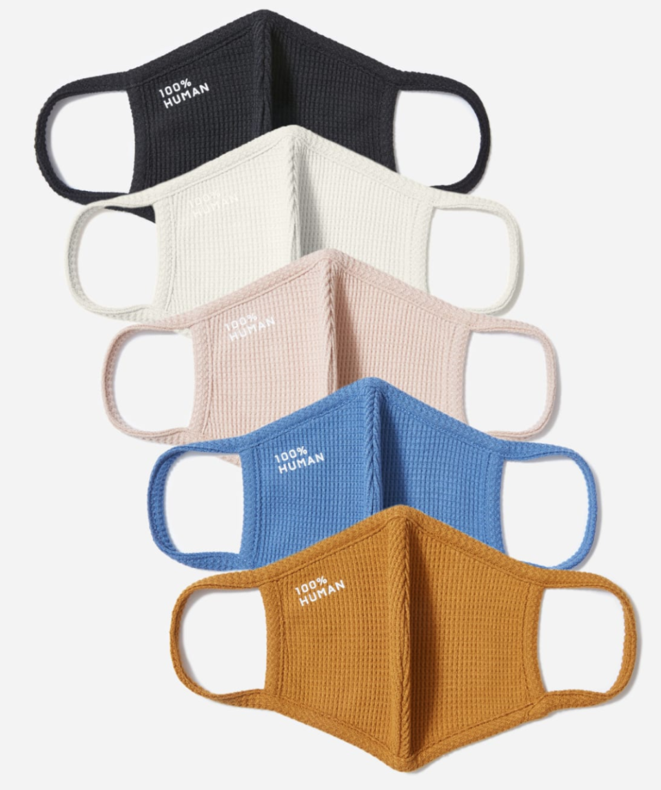 The 100% Human Face Mask 5-Pack in Assorted Waffle Knit