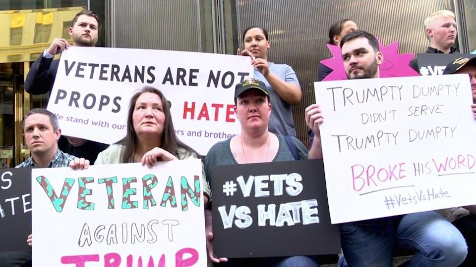 A group of veterans protesting in front of Trump Tower in Manhattan on May 23, 2016. (Photo: Grace Brailsford-Cato)