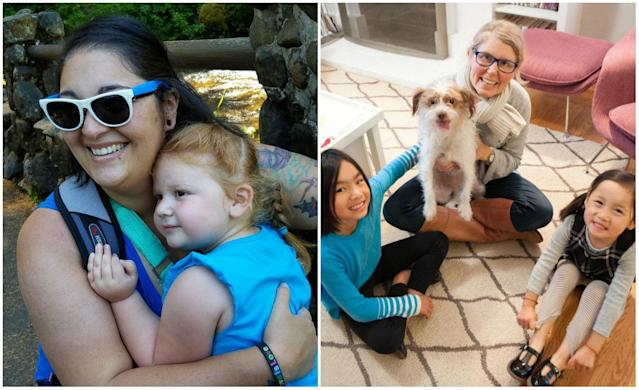 Brenda Torres (left) is a mom in Idaho who gave birth to her 3-year-old daughter. Kriss Kokoefer (right) is a mom in California who adopted her two daughters, ages 9 and 5, from China.