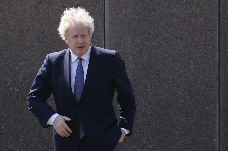 FERRYHILL, ENGLAND - MAY 13: Prime Minister Boris Johnson visits Cleves Cross Primary school in Ferryhill, northeast England on May 13, 2021 in Ferryhill, England. (Photo by Scott Heppell - WPA Pool/Getty Images)