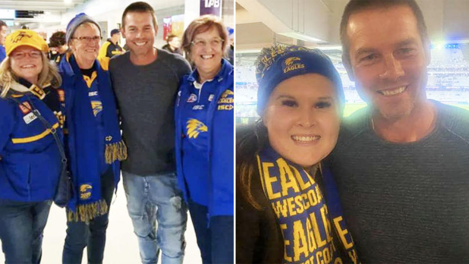 Ben Cousins, pictured here posing for photos with West Coast Eagles fans.
