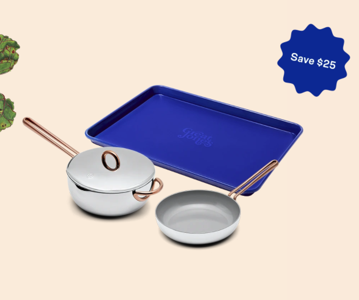 """<h3>Great Jones</h3><br><strong>Best For: </strong>Multifunctional one-off cookware and specialty bundles with custom interiors<br><strong>Product Range:</strong> Dutch ovens, frying pans, baking sheets<br><strong>Price Breakdown:</strong> $145 (bundle saves $25)<br><br>Named after cookbook author and Julia Child's editor, Judith Jones, this trendy site offers a lineup of custom-built kitchen pieces that look as good as they cook — from <a href=""""https://greatjonesgoods.com/products/the-dutchess"""" rel=""""nofollow noopener"""" target=""""_blank"""" data-ylk=""""slk:one-off dutch ovens in broccoli hues"""" class=""""link rapid-noclick-resp"""">one-off dutch ovens in broccoli hues</a> to full <a href=""""https://greatjonesgoods.com/products/family-style"""" rel=""""nofollow noopener"""" target=""""_blank"""" data-ylk=""""slk:family-style sets"""" class=""""link rapid-noclick-resp"""">family-style sets</a> and specialty """"Easy Bake"""" bundles.<br><br><em>Shop <strong><a href=""""https://greatjonesgoods.com/pages/shop"""" rel=""""nofollow noopener"""" target=""""_blank"""" data-ylk=""""slk:Great Jones"""" class=""""link rapid-noclick-resp"""">Great Jones</a></strong></em><br><br><strong>Great Jones</strong> Easy Bake, $, available at <a href=""""https://go.skimresources.com/?id=30283X879131&url=https%3A%2F%2Fgreatjonesgoods.com%2Fproducts%2Feasy-bake"""" rel=""""nofollow noopener"""" target=""""_blank"""" data-ylk=""""slk:Great Jones"""" class=""""link rapid-noclick-resp"""">Great Jones</a>"""