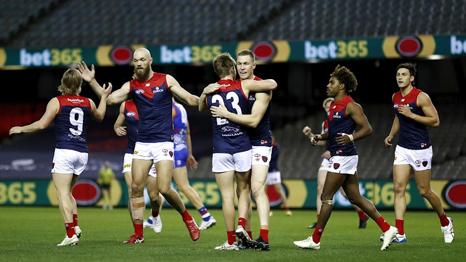 Melbourne bounced back from their first loss of the season last weekend to thump the Western Bulldogs on Friday night. (Photo by Dylan Burns/AFL Photos via Getty Images)