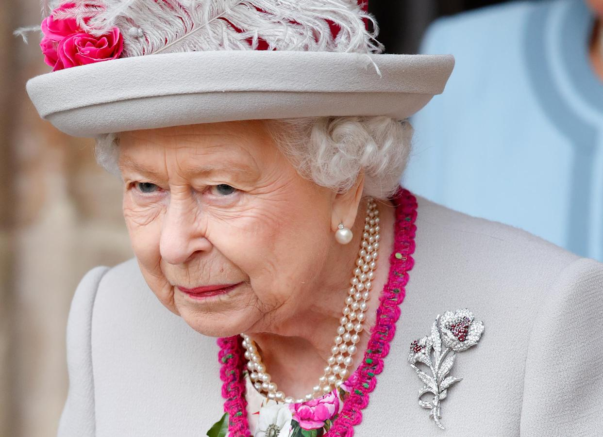 LONDON, UNITED KINGDOM - OCTOBER 15: (EMBARGOED FOR PUBLICATION IN UK NEWSPAPERS UNTIL 24 HOURS AFTER CREATE DATE AND TIME) Queen Elizabeth II attends a service marking the 750th anniversary of Westminster Abbey on October 15, 2019 in London, England. The service at Westminster Abbey marks 750 years since Edward the Confessor's original church was rebuilt under the reign of King Henry III. The new Gothic Abbey was consecrated on October 13, 1269. (Photo by Max Mumby/Indigo/Getty Images)