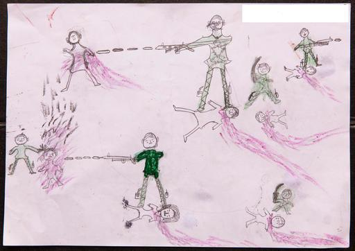 A drawing by a Rohingya boy illustrates the horrific experiences he endured while fleeing from Myanmar to Bangladesh. (Courtesy of UNICEF)