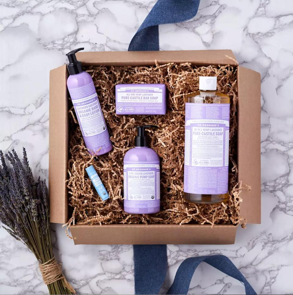 "<p>The winter season often means one thing: germs, and that means lots of hand-washing. This set by Dr. Bronner's includes four of their bestselling products in a relaxing scent—pure-castile bar soap, liquid soap, hand soap, lotion, and lip balm.</p> <p><strong><em>Shop Now: </em></strong><em>Dr. Bronner's Lavender Sampler,</em> <em>$39, <a href=""https://thrivemarket.com/p/dr-bronners-lavender-sampler"" rel=""nofollow noopener"" target=""_blank"" data-ylk=""slk:thrivemarket.com"" class=""link rapid-noclick-resp"">thrivemarket.com</a></em><em>.</em></p>"