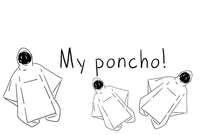 """The words """"my poncho,"""" accompanied by an illustration of one."""