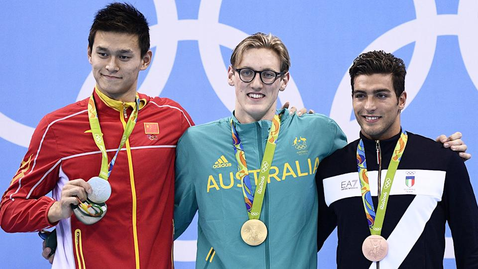 Australia's Mack Horton is pictured on the podium alongside Sun Yang at the 2016 Rio Olympic Games.