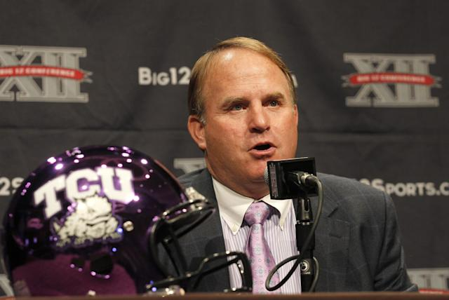 FILE- In this July 22, 2013 file photo, TCU coach Gary Patterson addresses the media during the Big 12 Conference Football Media Days in Dallas. The Horned Frogs are most definitely in unfamiliar territory entering year three as a member of the Big 12. Since the move the Frogs are 11-14, 6-12 in conference and it's been one thing after another for Patterson. (AP Photo/Tim Sharp, File)